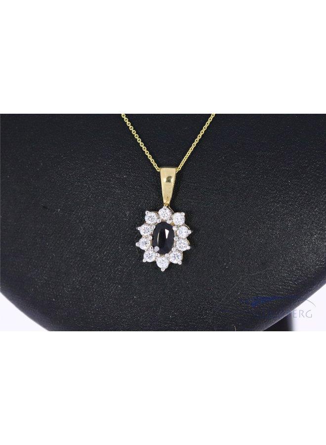 14k pendant with sapphire and zirconia