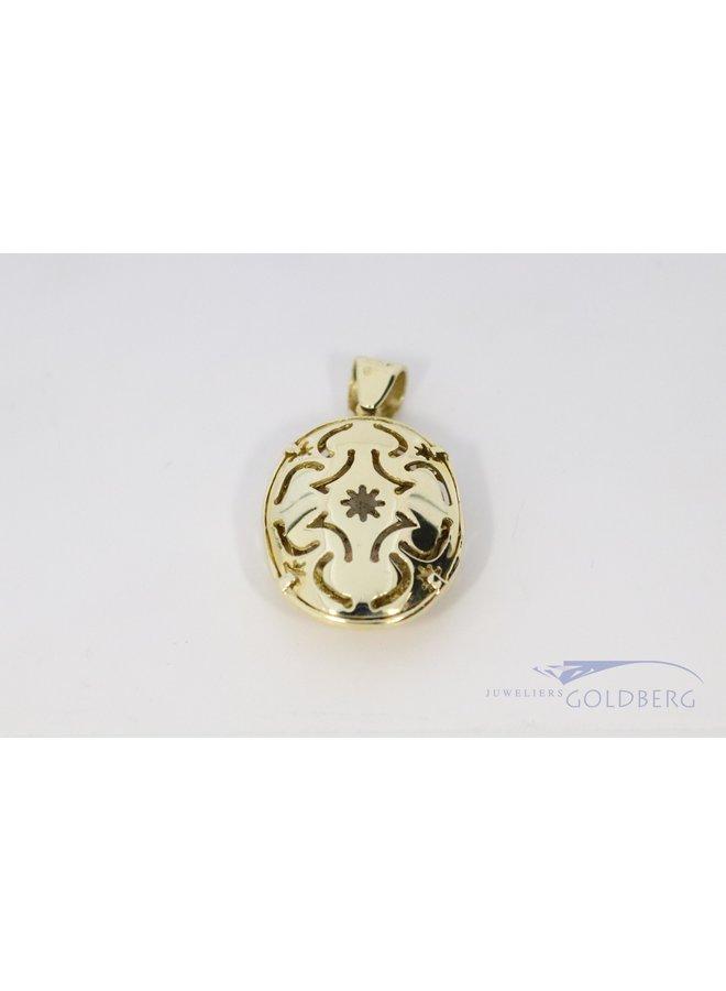 Fantasy pendant 14k gold with milk opal