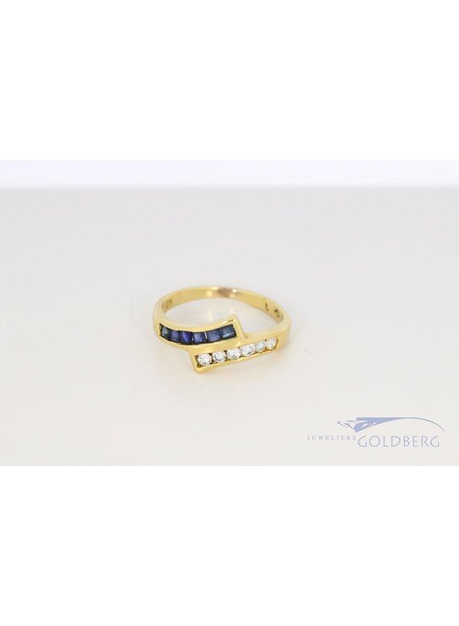 18k gouden vintage ring met saffier en diamant