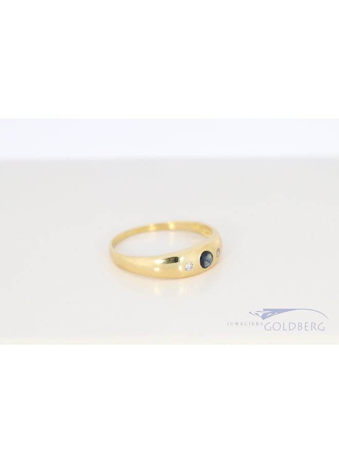 14k vintage band ring with diamond and sapphire