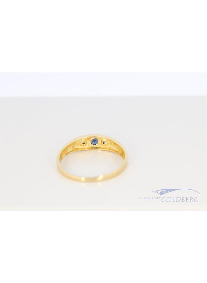 14k vintage bandring met diamant en saffier