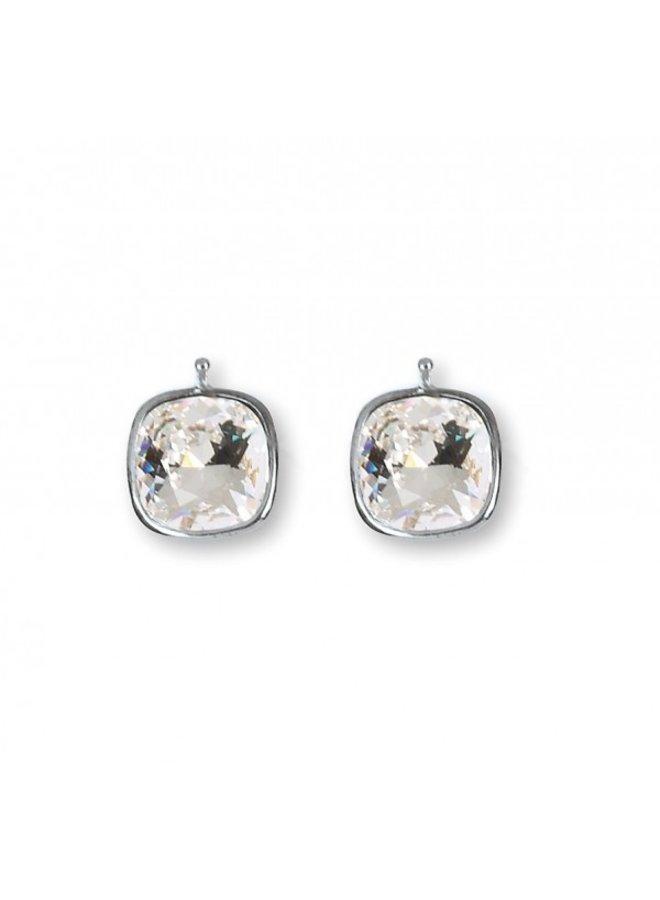 "Heide Heizendorff  ""Crystal"" 14x14mm rhodium plated silver E29_01"