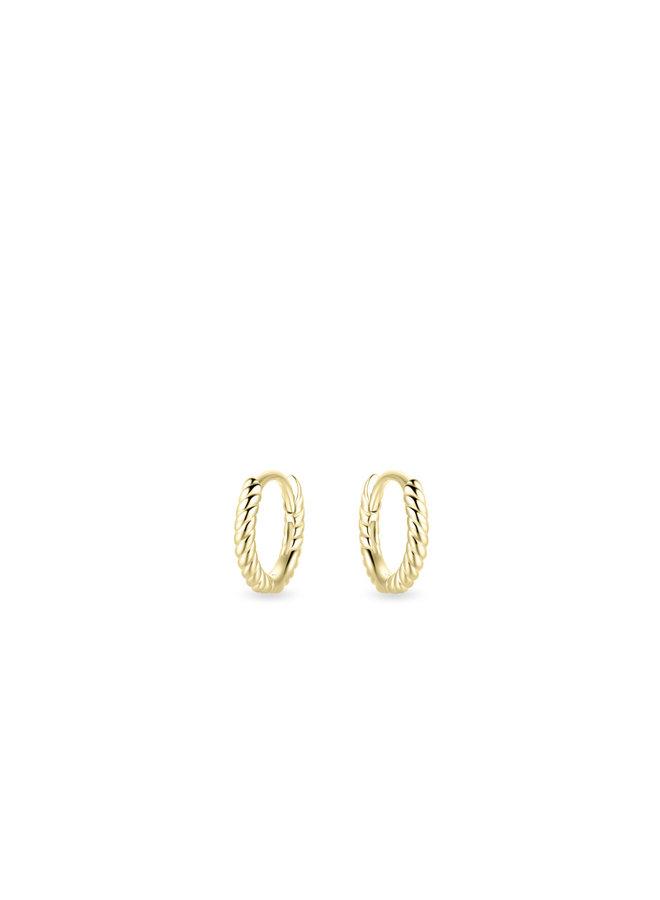 14k gold small twisted hoop earrings
