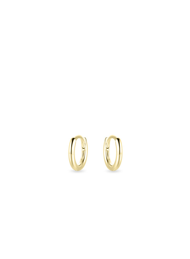 14k gold small smooth hoop earrings 10mm