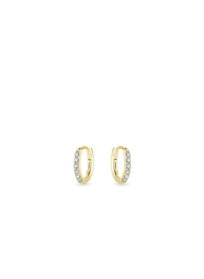 14k gold small hoop earrings with zirconia's, 10mm