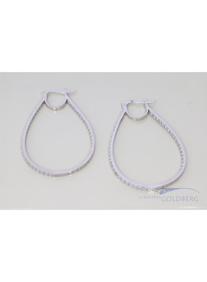 14k white gold earrings with zirconia