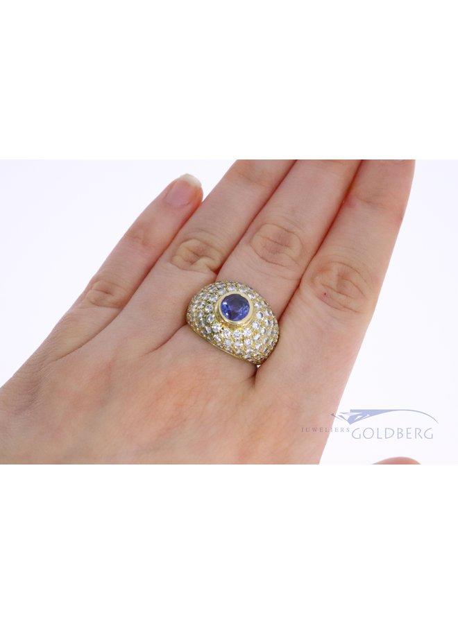18k brede ring met blauwe toermalijn en diamant
