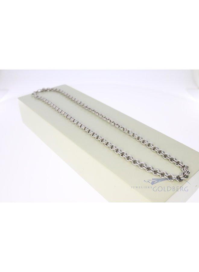 silver double anchor necklace