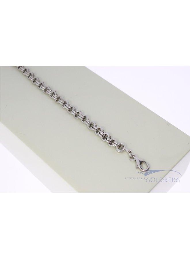 silver double anchor bracelet