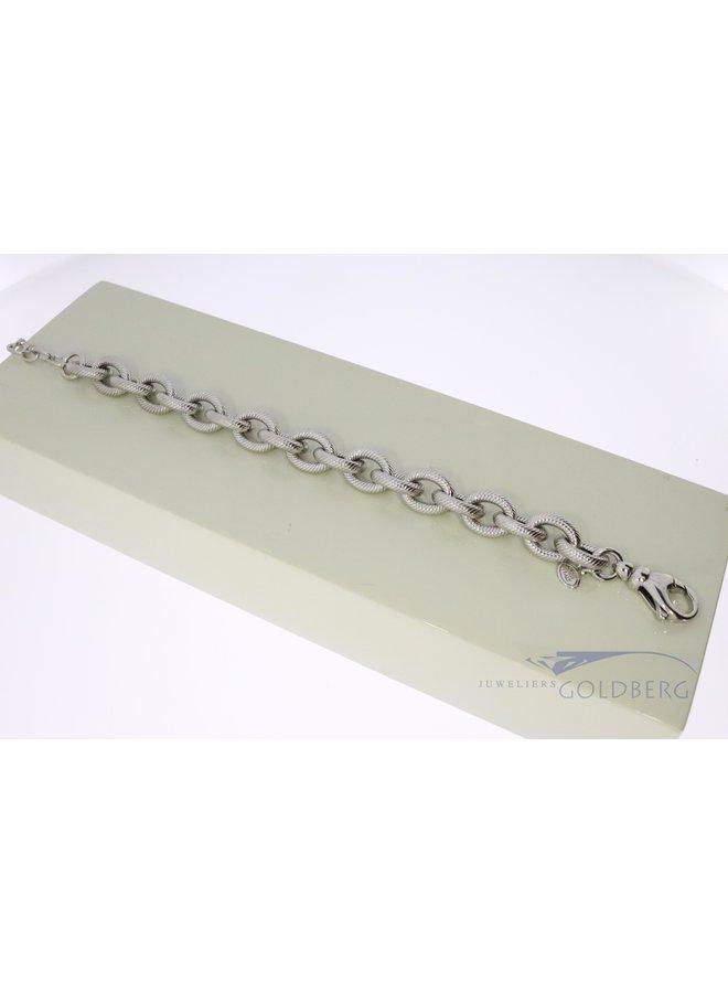 zilveren bewerkte anker armband.