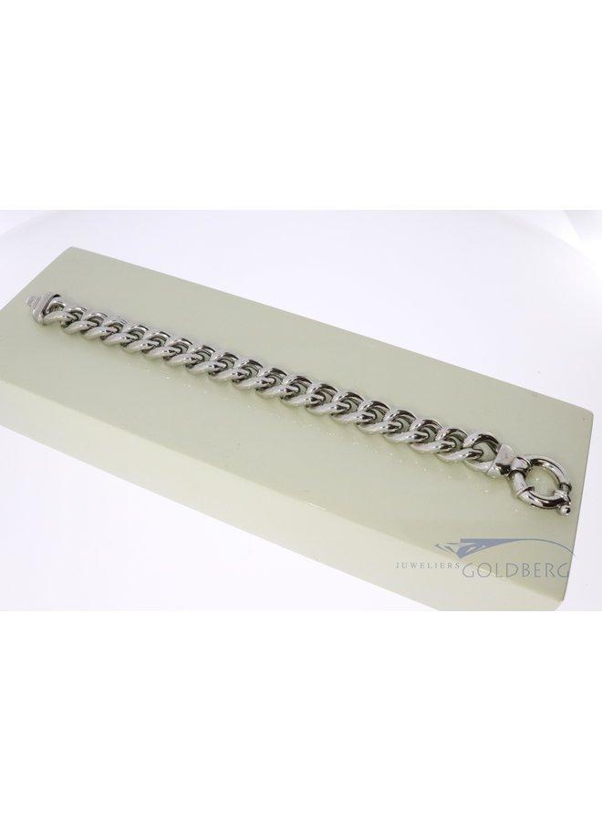 silver wide gourmet bracelet
