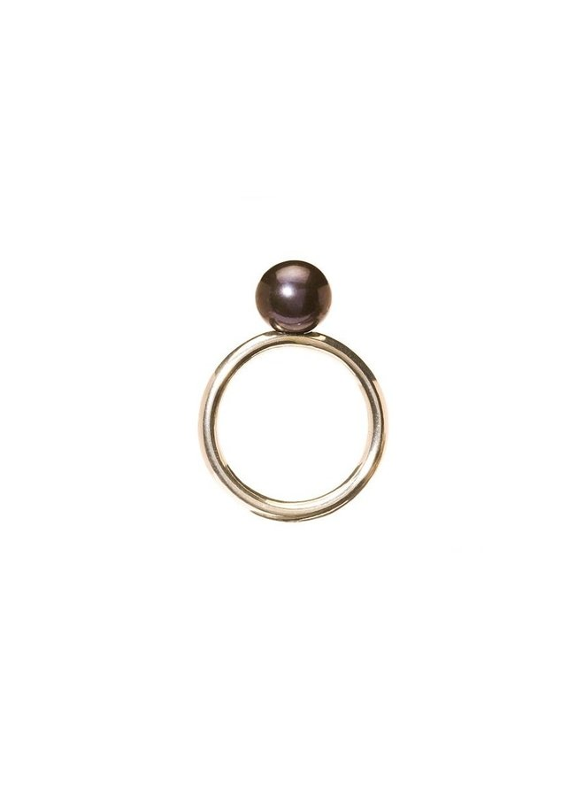 "Trollbeads silver ring ""black pearl"""