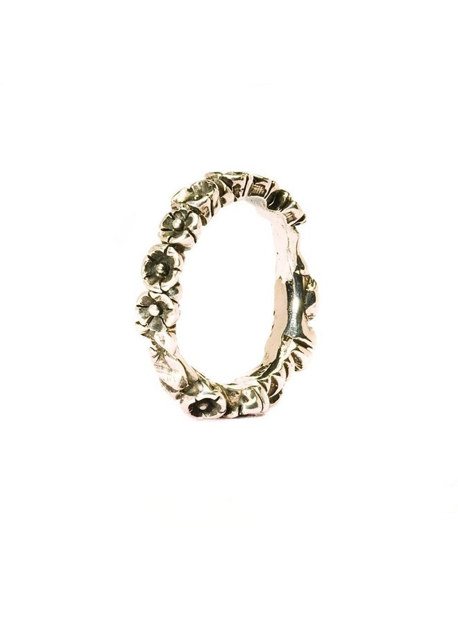 "Trollbeads zilveren ring ""babybloemen"""