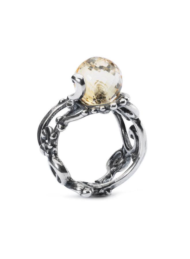 Trollbeads zilveren ring met facetgeslepen citrien