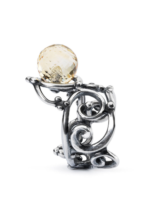 Trollbeads silver ring with faceted citrine
