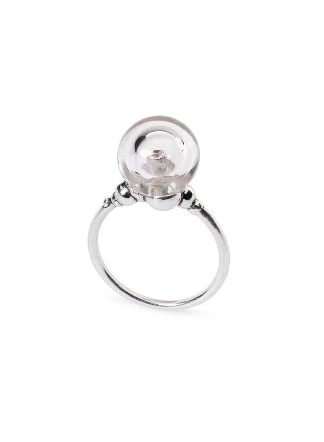 """Trollbeads zilveren ring """"kristallen belletje"""""""