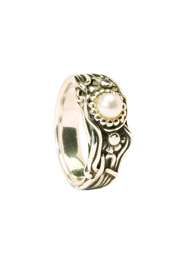 """Trollbeads silver ring """"Jugend pearl"""""""