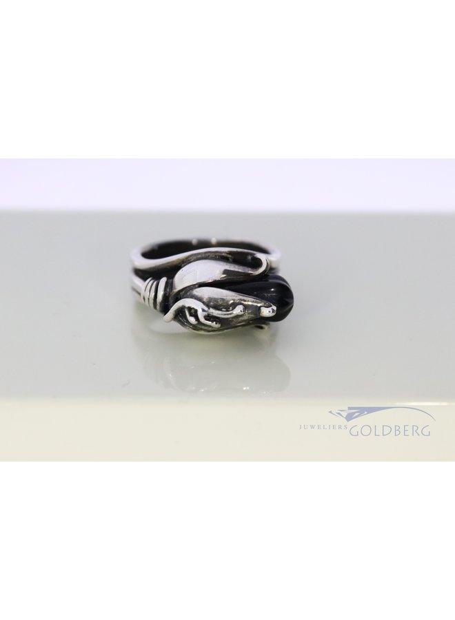 Rabinovich licht geoxideerde zilveren ring met onyx