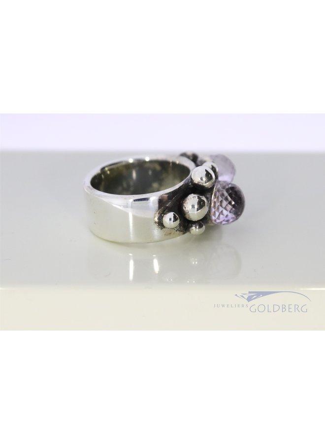 robust Rabinovich silver ring with amethyst
