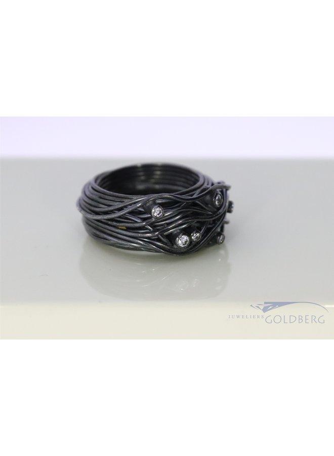 Rabinovich oxidized silver ring with zirconias