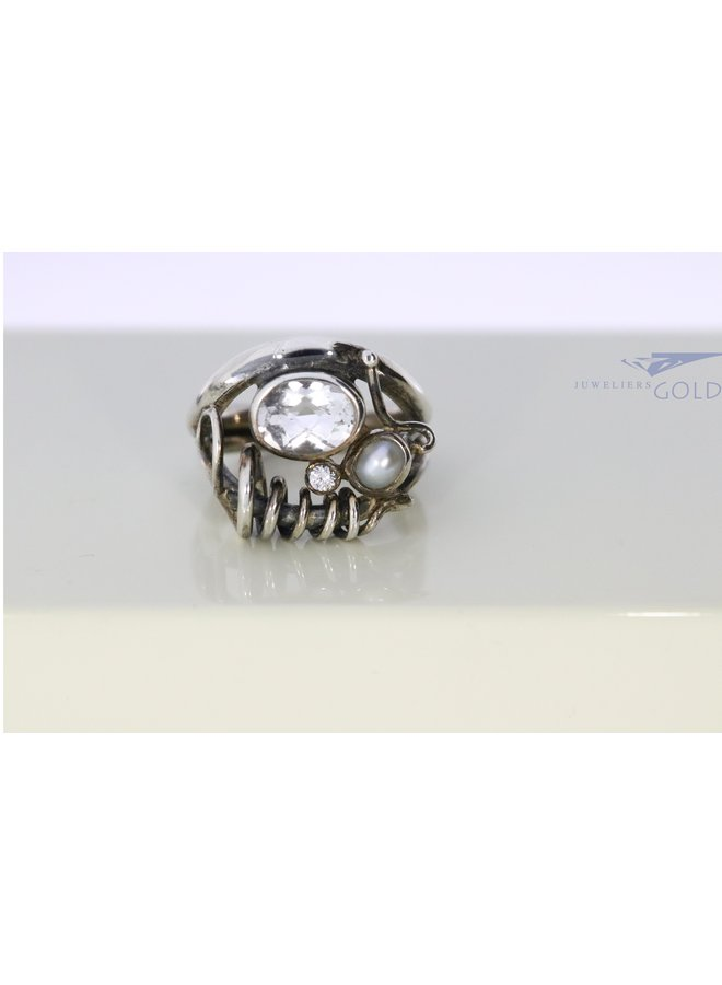Rabinovich silver ring with Prasiolite and Pearl