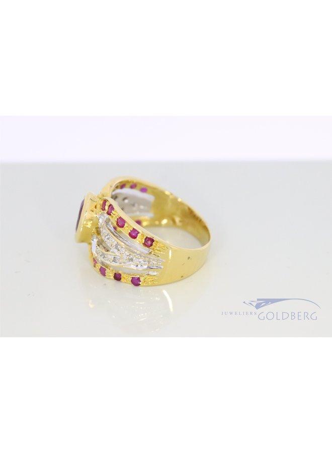 18k gouden ring met diamant en robijn