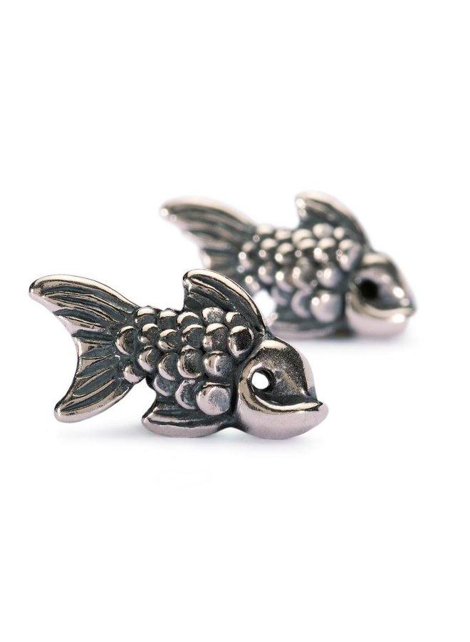Trollbeads silver earrings Carp