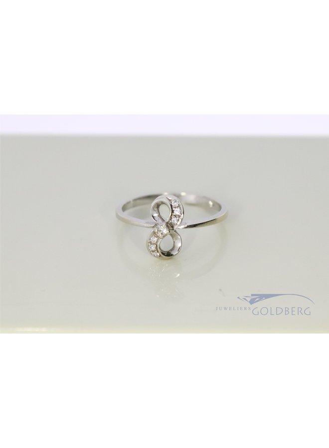 14k witgouden vintage ring met diamantjes