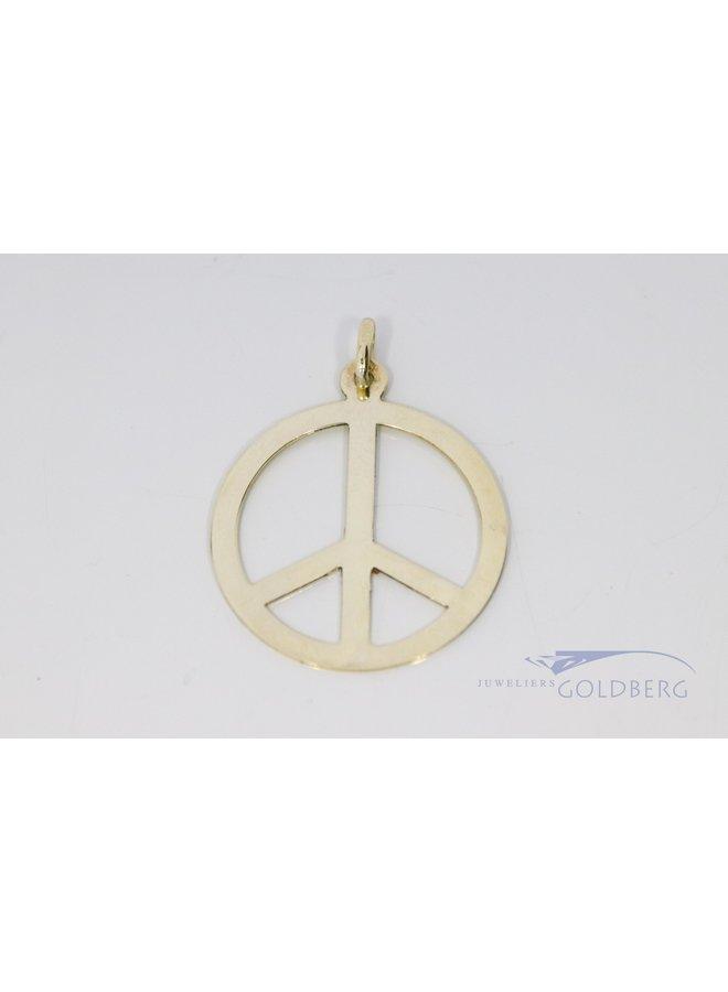 14k gold vintage peace sign pendant