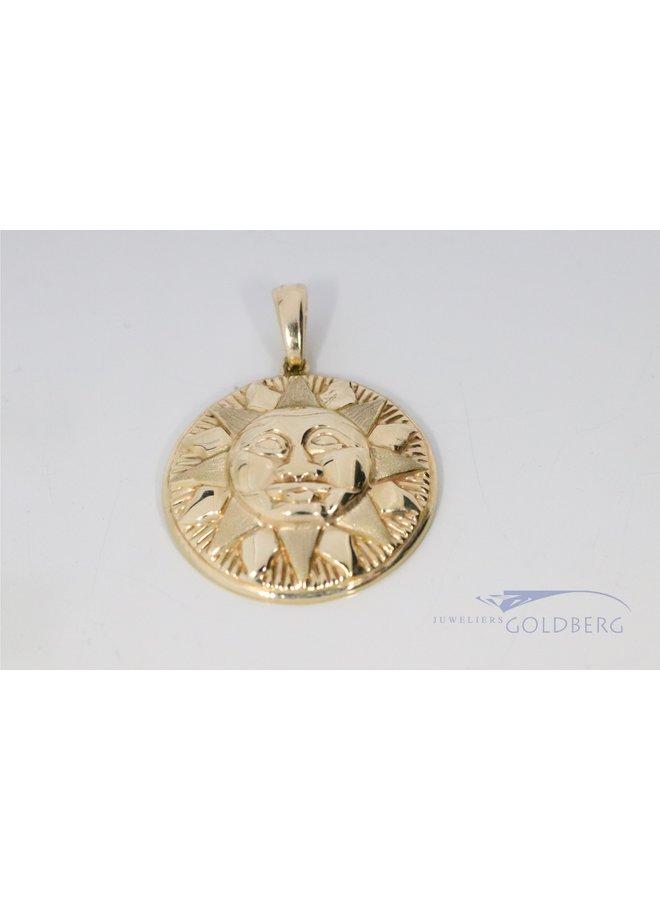 14k vintage sun pendant