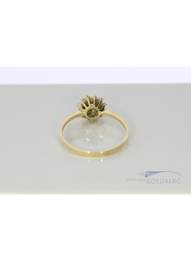 14k vintage rozet ring met zirkonia