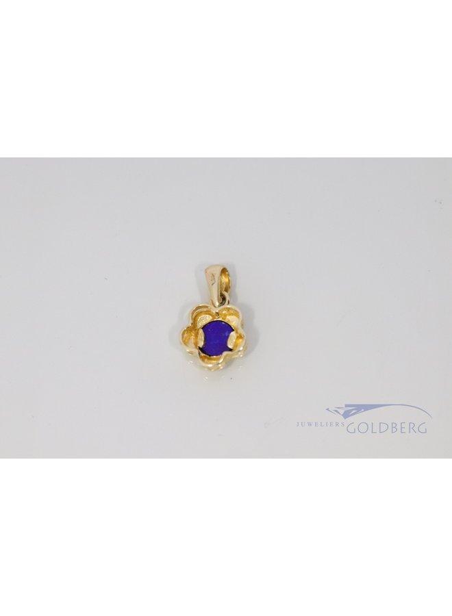 vintage bloemhangertje met lapis lazuli 14k