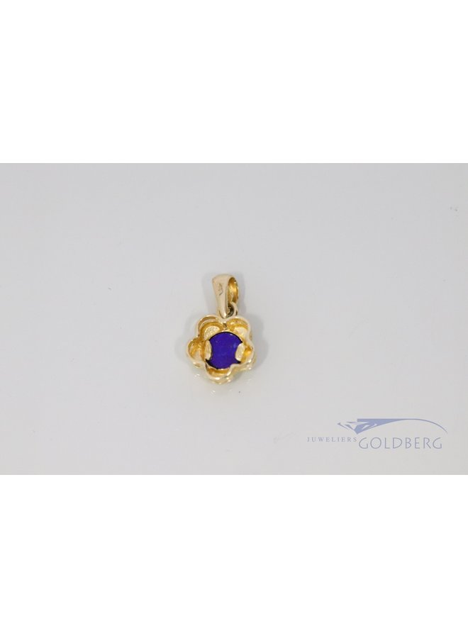 vintage flower pendant with lapis lazuli 14k