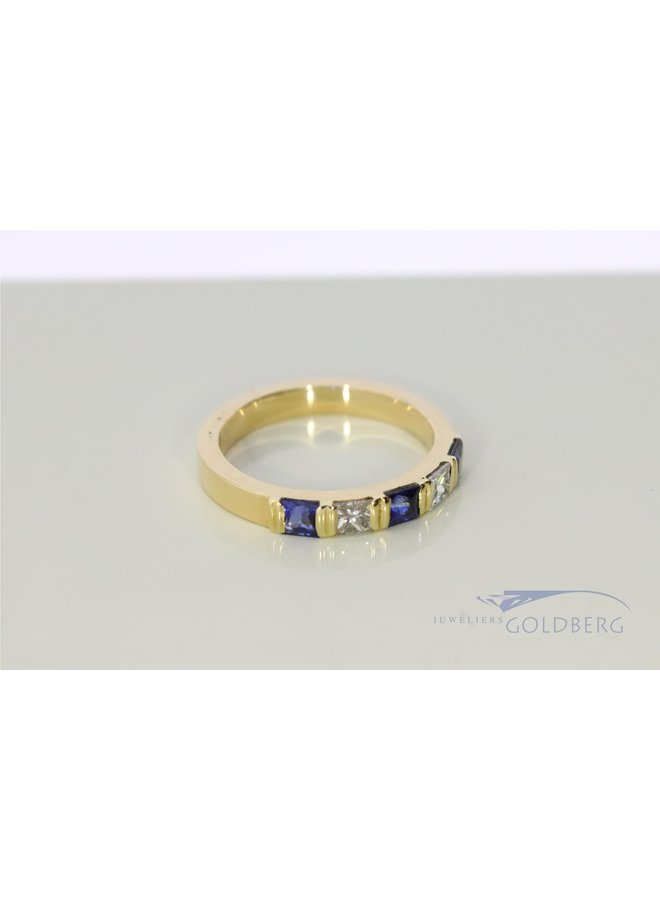 14k gold alliance ring with diamond and sapphire