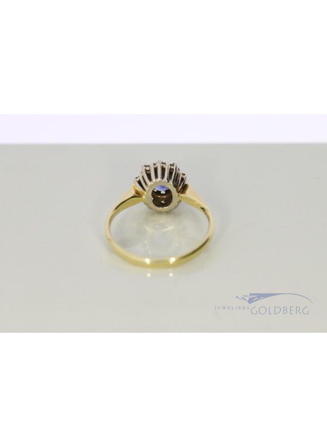 vintage Prinses Diana entourage ring met diamant en saffier