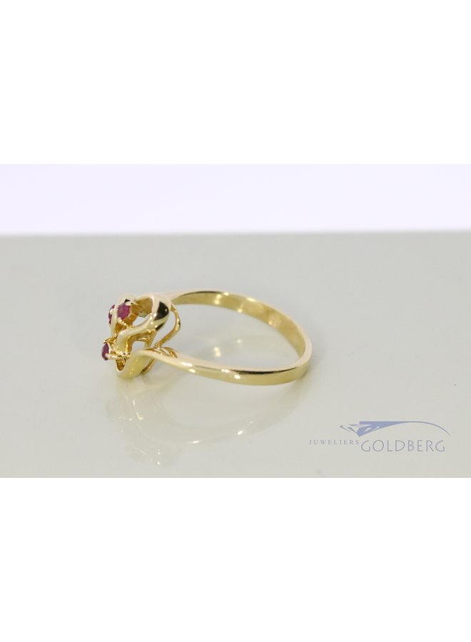 14k gold vintage fantasy ring with ruby