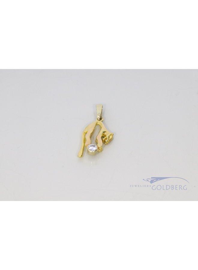 vintage 14k gouden panter hanger met diamant