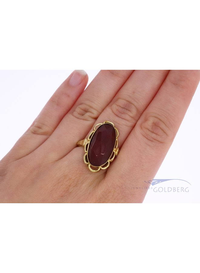 Vintage 14k gold carnelian ring