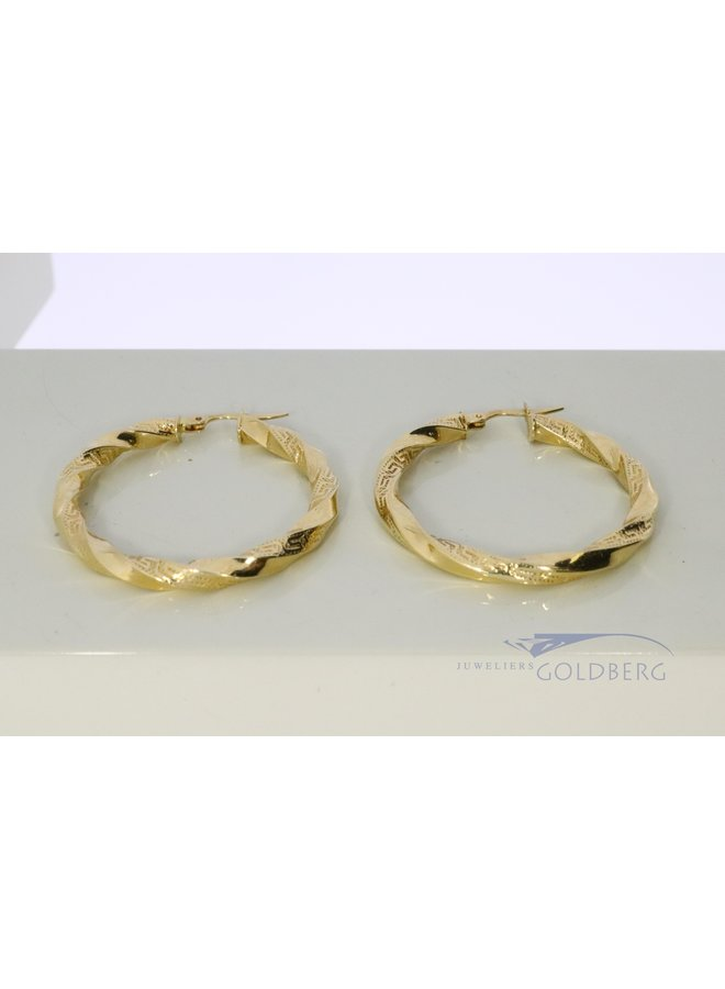 14k gold twisted hoop earrings 36mm