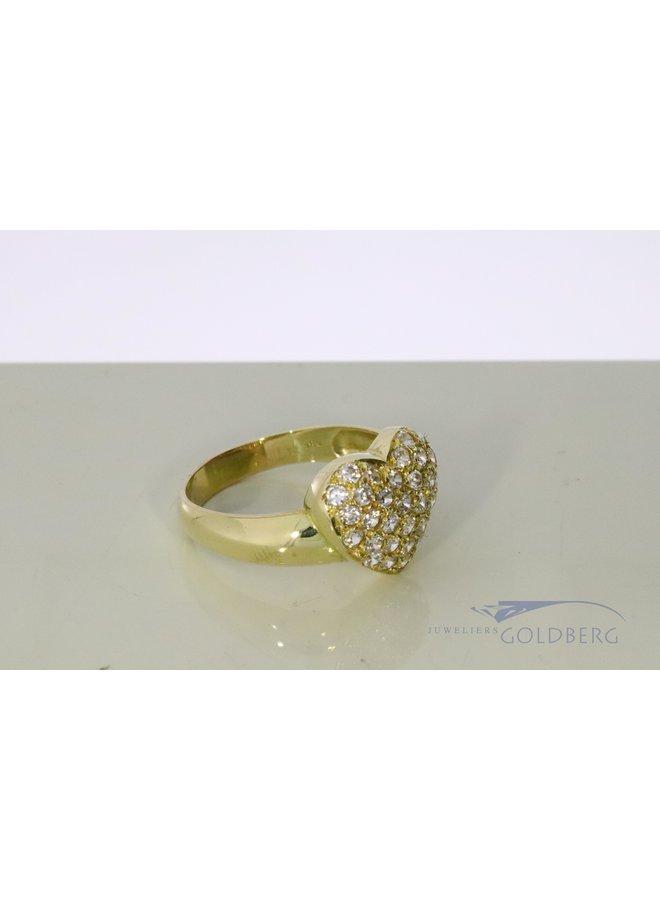 hart ring van 14k goud met zirkonias