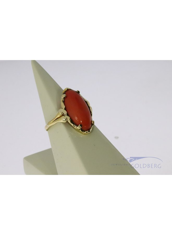 Antique red coral ring 14k