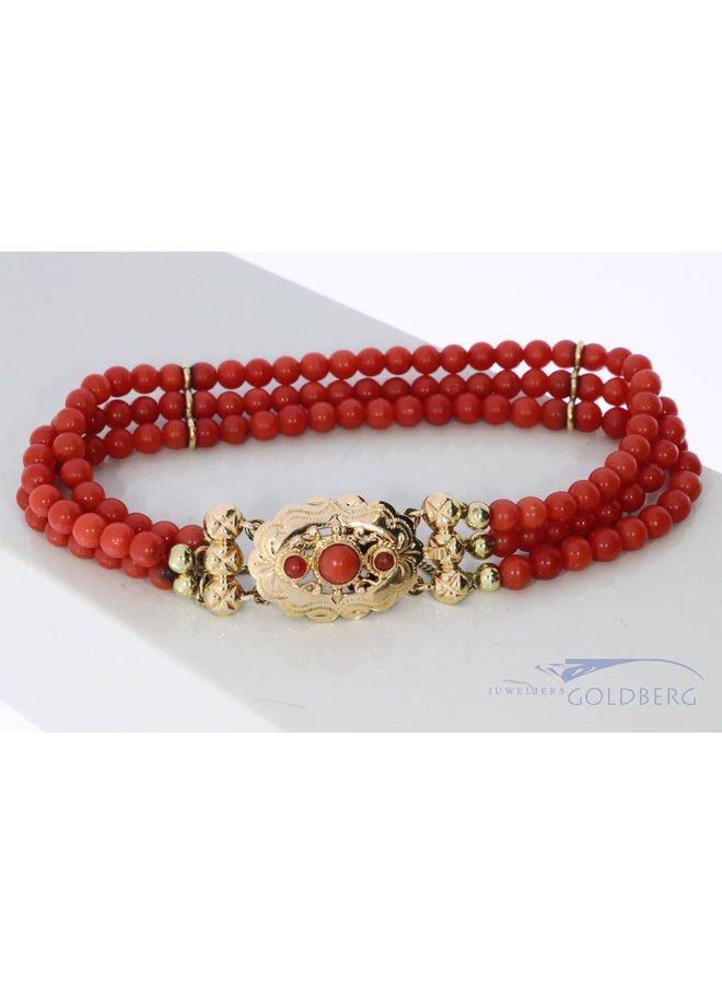 bloedkoralen armband met 14k gouden slot