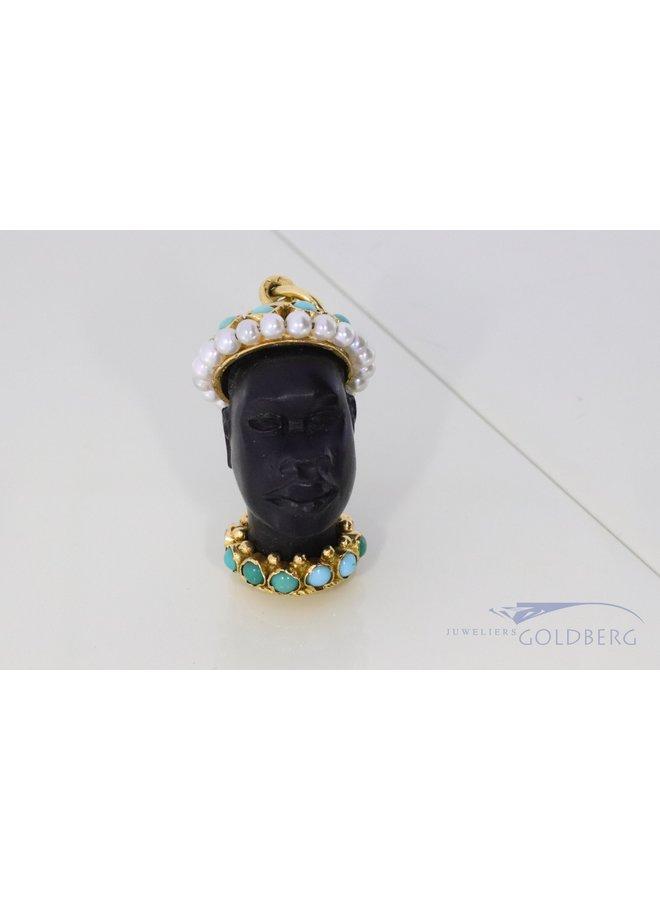 Vintage 18k gold pendant with ebony face.