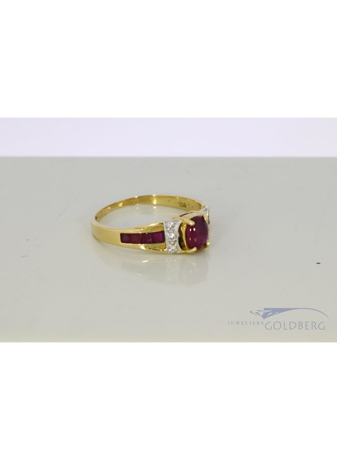 18k gold ring with ruby and diamond