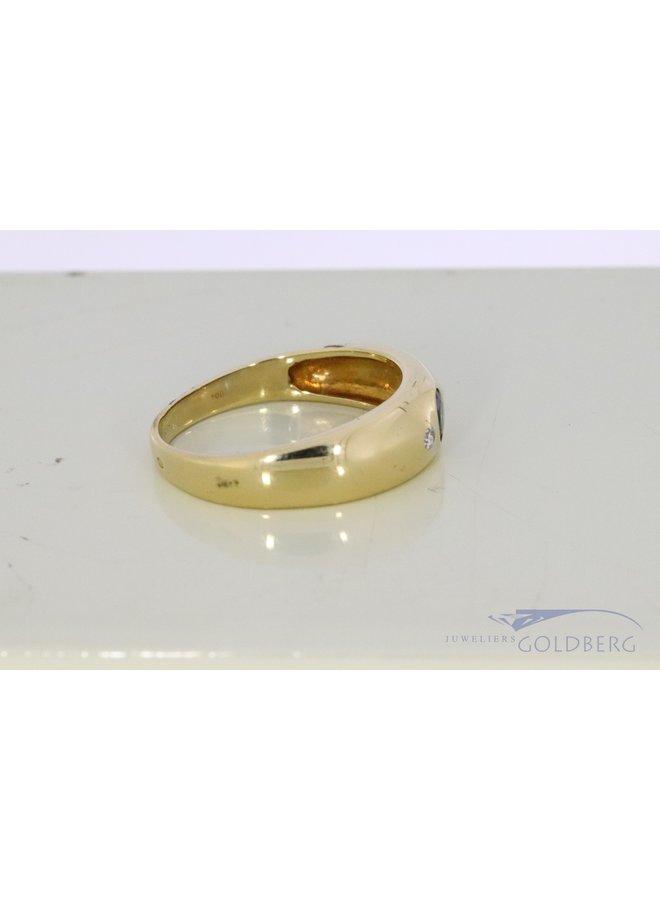 brede 14k gouden ring met saffier en diamant