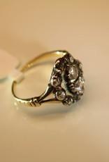 Antieke 14k gouden ring met roos geslepen diamant ca. 1900