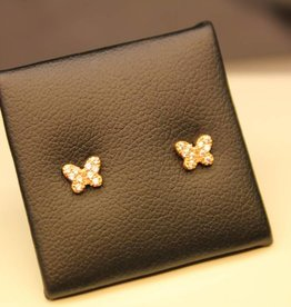 18 carat rose gold butterfly ear studs with zirconia