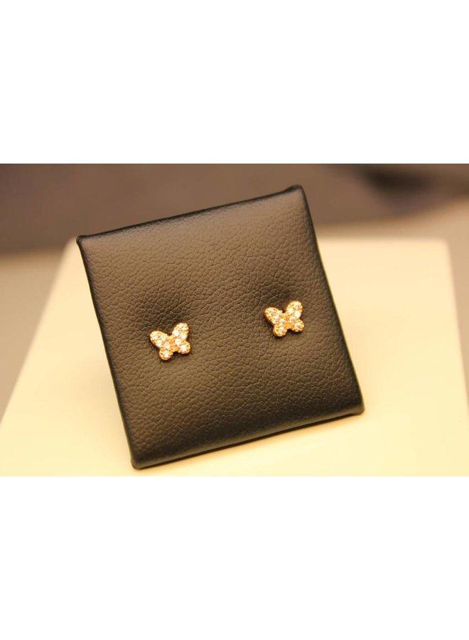 18k rose gouden vlinder oorstekers met zirconia