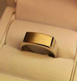 Zilver met gouden herenring rechthoek 16x8mm