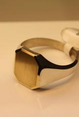 Zilver met gouden herenring rechthoek met gesneden hoeken 15x12mm